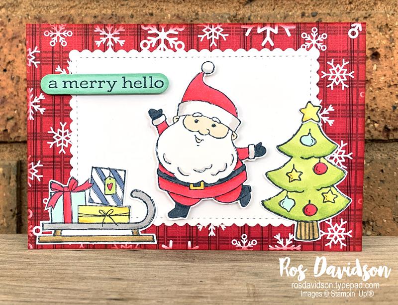 Stampin' Up! | Tri Fold Pocket Card | Peaceful prints DSP | Christmas card | Sale-a-bration 2021 | card by Ros Davidson, Stampin' Up! demonstrator Melbourne Australia