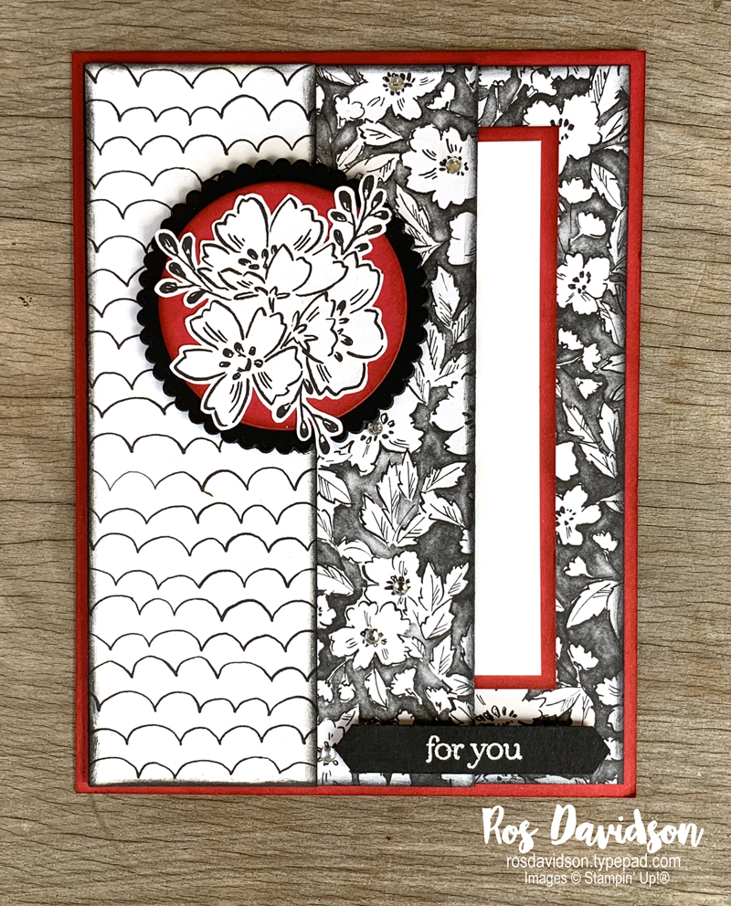 Stampin' Up! | For you card | Beautifully penned DSP | Sale-a-bration 2021 | card by Ros Davidson, Stampin' Up! demonstrator Melbourne Australia