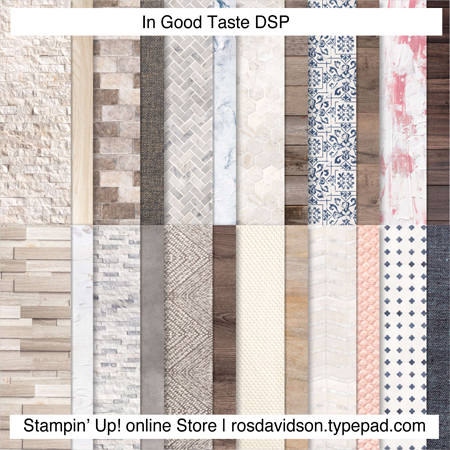 Stampin Up In good taste DSP available for scrapbooking, card making and other paper crafts. Available in my online store in Australia.
