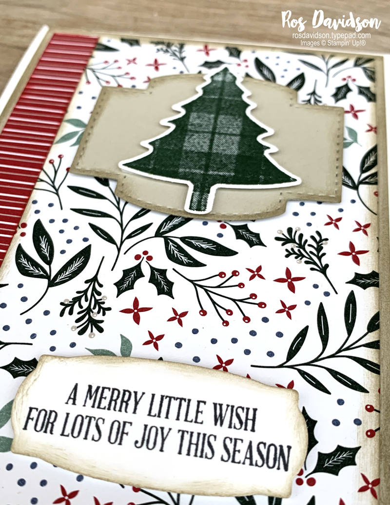 Stampin Up Christmas card with Perfectly Plaid stamp set and Tidings of Christmas DSP. 2021 card by Ros Davidson, Stampin Up demonstrator Melbourne Australia.