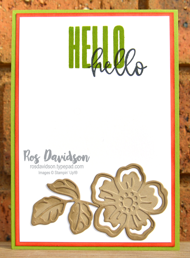 Stampin' Up! | Hello card | Faux embossing technique | Sale-a-bration 2021 | card by Ros Davidson, Stampin' Up! demonstrator Melbourne Australia