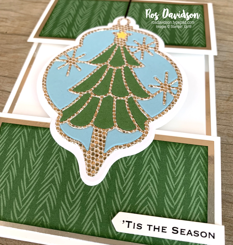 Stampin' Up! | Split panel card | Peaceful prints DSP | Delicate baubles dies | Christmas card | Sale-a-bration 2021 | card by Ros Davidson, Stampin' Up! demonstrator Melbourne Australia