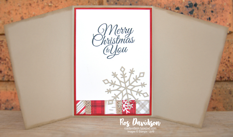 Stampin' Up! | Angled card | Peaceful prints DSP | Delicate baubles dies | Christmas card | Sale-a-bration 2021 | card by Ros Davidson, Stampin' Up! demonstrator Melbourne Australia