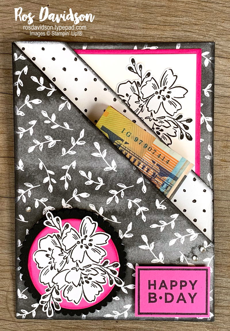 Stampin' Up! | Birthday card | Double pocket card | Beautifully penned DSP | Sale-a-bration 2021 | card by Ros Davidson, Stampin' Up! demonstrator Melbourne Australia
