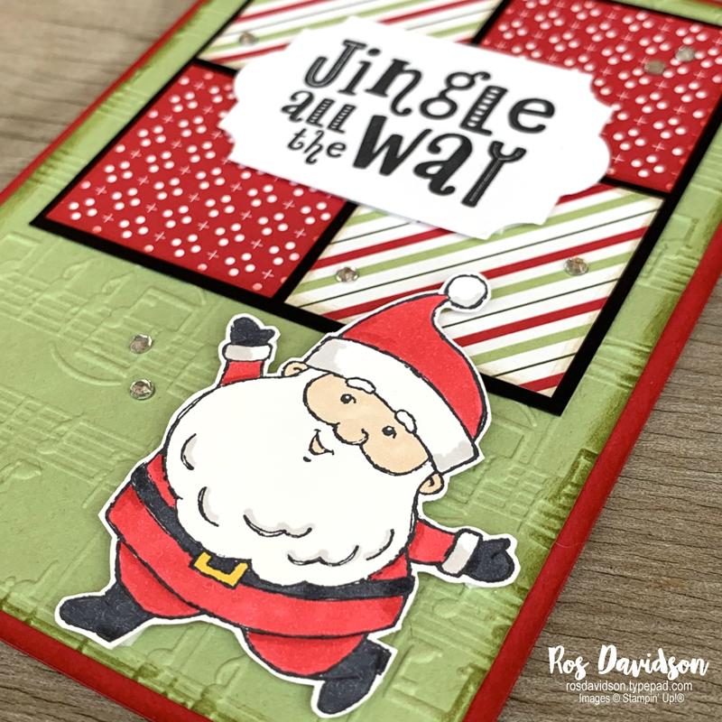 Stampin' Up! | Be Jolly Stamp Set | Heartwarming Hugs DSP | Christmas card | card by Ros Davidson, Stampin' Up! demonstrator Melbourne Australia